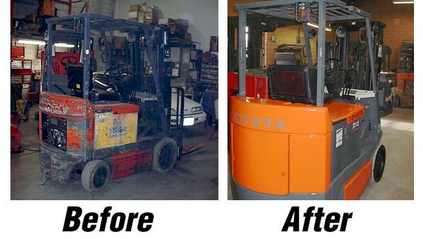 before and after forklift restoration